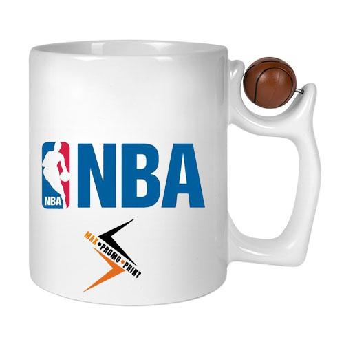 Keramiktasse LENA-BASKET, 11oz weiß, mit Basketball